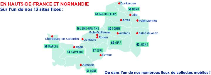 Carte des 13 maisons du don des régions Hauts-de-France et Normandie